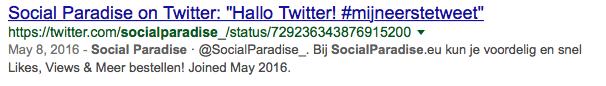 Een in Google geindexeerde Twitter Tweet